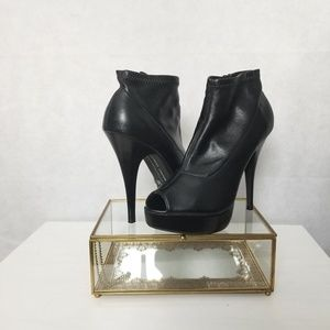 Black Leather Peep Toe Booties